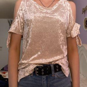 Velvet gold cold shoulder top